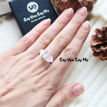 925 Sterling Silver Big Natural Stone Rings Say You Say Me Wedding&Engagement Luxury Jewelry Ring 2018 Fashion Best Gifts