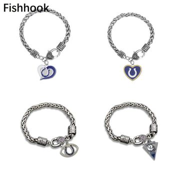 Fishhook 1 piece Ball Indianapolis Colts Bracelet American Style Jewelry Wheat Link Chain or Rolo Chain
