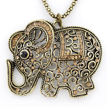 Gold-tone Full Orange Crystal Cute Hollow Elephant NECKLACE