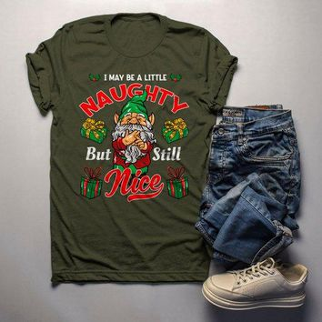 Men's Funny Elf Shirt Christmas Shirts Little Naughty But Nice TShirt Christmas Outfit Idea Cute Fun Graphic Tee