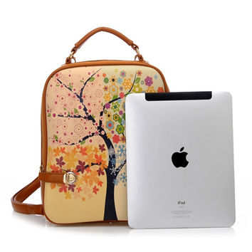 Women's Leather Tree Print Backpack iPad Bag Gift for Daughter