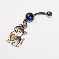 Cat Belly Button Ring, Navel Ring, Cat Lady, Kitten, Cat Love, Heart Cat, Cat Jewelry, Belly Piercing
