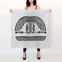 Egyptian Scarf - Hieroglyphic Print -  Black and White - Graphic Scarf - Silk Scarf