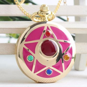 Crystal Star Pocket Watch Necklace - 14k Gold-Plated