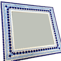 Blue and White Mosaic Wall Mirror in Geometric Pattern