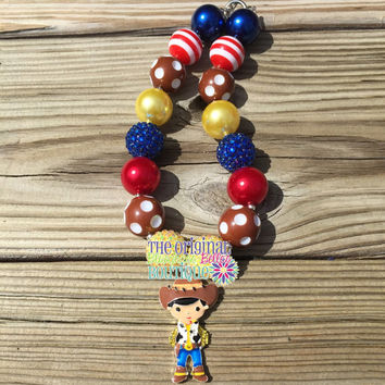 Woody bubblegum necklace - Woody chunky necklace - cowboy necklace - rodeo necklace - girls rodeo necklace - cowgirl jewelry