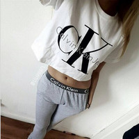 """Calvin Klein"" Fashion Casual Letter Print Round Neck Short Sleeve Sweater Set Two-Piece Sportswear"