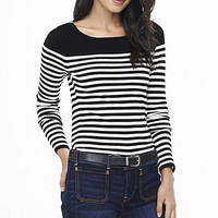 Striped Fitted Bateau Neck Sweater from EXPRESS