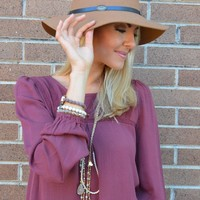 Camel Fedora with Black Leather Band and Gold Charm Detail