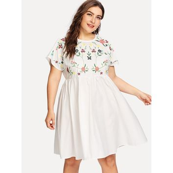 Plus Flutter Sleeve Botanical Embroidery Dress White