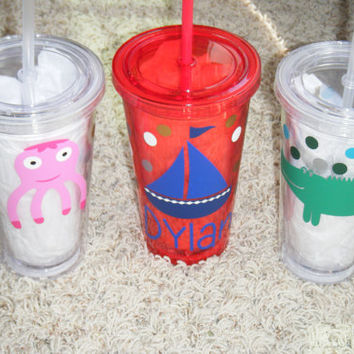 Set of 4-Octopus Sailboat of Alligator Personalized Double Wall Acrylic Tumbler-16 oz w/ screw on lid & straw-OOAK Name Tumbler