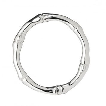 Thistle & Bee Sterling Silver Bamboo Hinged Bangle Bracelet