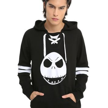 Licensed cool Disney Jack Skellington Hockey Jersey Nightmare Before Christmas Hoody Hoodie