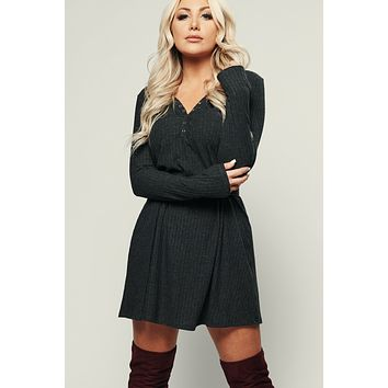 Doe-eyed Ribbed Dress (Charcoal)