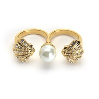 Gold Double Finger Pave Shell And Pearl Ring by Juicy Couture,