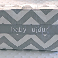 Personalized Travel Changing Pad - Gray Chevron