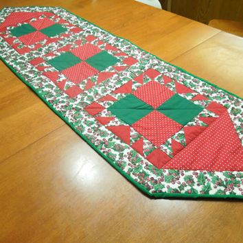 Christmas or Holiday Red and Green mistletoe quilted table runner for holiday, housewares, home decor by MarlenesAttic