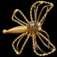 Dragonfly Brooch Filigree and Pearls Signed Hobe'