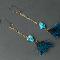 Peacock feather earrings with turquoise nuggets, glamour jewelry, iridescent feather, ethnic, boho, glamour earring, folk, hippie, peacock.