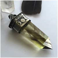 The GateWay - Gothic Mixed Smoky Phantom Quartz and Citrine Quartz Point Pendant With Triple Moon Goddess Detail