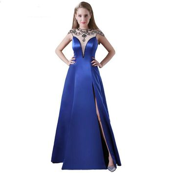 Long A-line Evening Dress Collar Women Sequined Party Dress Side Split
