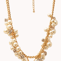 FOREVER 21 Luxe Lover Faux Pearl Necklace Cream/Gold One