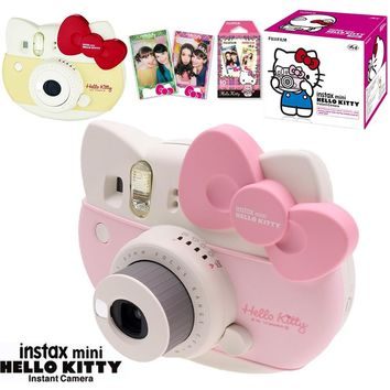 Fujifilm Instax Mini 8 Hello Kitty Limited Edition Instant Photo Film Camera + 10 Sheet Kitty Films + Stickers + Stripe box Set