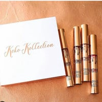 2017 NEW Koko Kollection Cosmetics makeup Matte liquid Lipstick 4pcs/set GORG/Damn Gina/KHLO/OKURRR lips kit set Free shopping