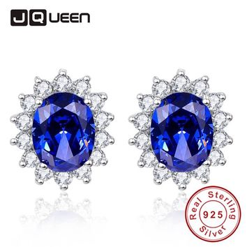 Trendy Bridal Party Jewelry Royal Blue Tanzanite Silver Earrings for Women Silver 925 Vintage Ear Studs with Cubic Zirconia