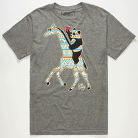 Riot Society Tribal Panda Giraffe Mens T-Shirt Heather Grey  In Sizes