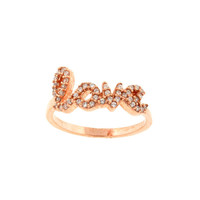CZ LOVE Rose Gold PLated Sterling Silver Ring