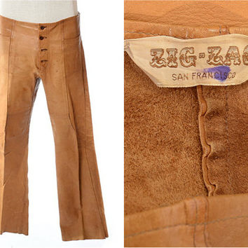 Vintage 70s ZIG ZAG Leather Pants 1970s Woodstock Rocker Hippie Stoner Zig Zag Brand San Francisco Mens Pants