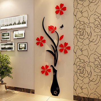 3D Plum Vase Wall Stickers home decor creative wall decals living room entrance painting flowers For Room Home Decor DIY