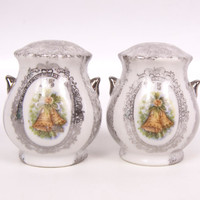 Vintage 25TH Anniversary salt and Pepper Shakers Silver Enesco Made in Japan Sponge Painted