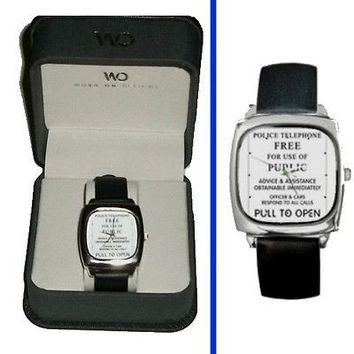 Dr. Who Tardis Police Sign watch real Leather Band & Premium BOX