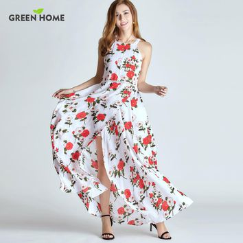 Floral Chiffon Maxi Nursing Dress with Slit