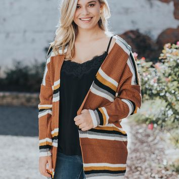 Striped Knit Cardigan, Camel Multi