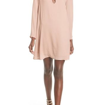ASTR Lace-Up Bell Sleeve Shift Dress | Nordstrom