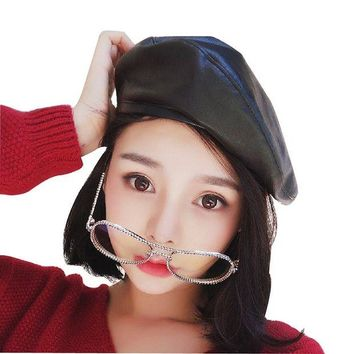 DCK4S2 Faux Leather Beret Solid Plain Flat Top PU Berets French Style Painters Hat Cap
