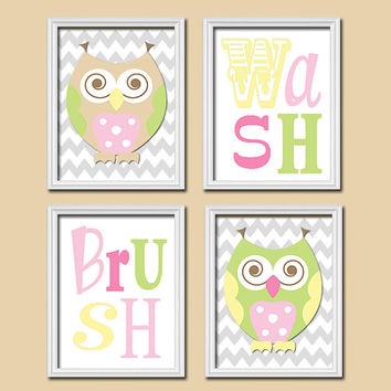 OWL Circo Bathroom Wall Art Canvas Artwork Funky Love n Nature Set of 4 Whimsical Wash Brush Chevron Shower Curtain Decor Child  Match