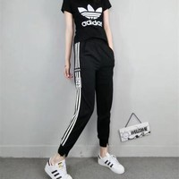 """Adidas"" Women Casual Letter Logo Print Short Sleeve Multicolor Stripe Split Trousers Set Two-Piece Sportswear"