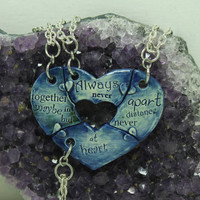 Friendship Heart pendants set of 4 pottery pieces Blue  Always together quote