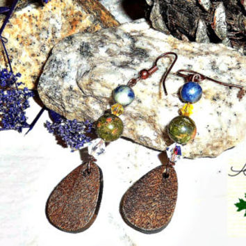 "Tribal Earrings: Handmade Unakite, Sodalite, Wood, And Swarovski Crystals ""Resilient"""