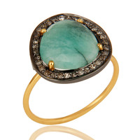 Natural Emerald Gemstone And Pave Diamond 14K Yellow Gold Stackable Ring