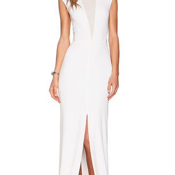 RACHEL ZOE Amara Sheer Inset Maxi Dress in White