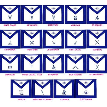 Masonic Blue Lodge Officers Aprons Variations
