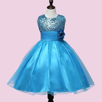 Ball Gown Shine Dress Sequin 2017 Summer girls 10/11/12 years dress Floral Tutu for Baby Girls Dress birthday party costume