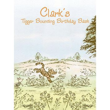 Custom Winnie The Pooh Tigger Bouncing Hundred Acre Woods Birthday Bash Backdrop (Any Color) Background - C0300