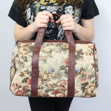 90s - Floral Canvas - Faux Brown Leather - Doctors Bag - Satchel - Handbag - Carry On - Purse - Tote