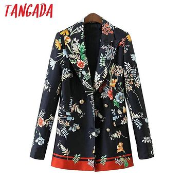 Tangada Floral Print Blazer Jacket Women Pockets Double Breasted Notched Collar Office Ladies Jacket Blazer Casual Outwear XD121